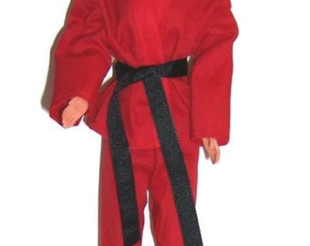 Red Karate Outfit for Fashion Dolls