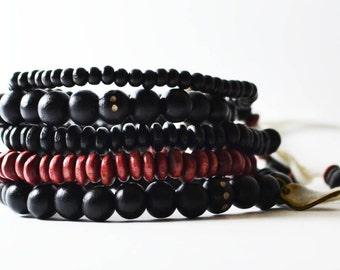 African Nubian Bracelet Handmade in Australia. Men's Streetwear OKSINC Natural Earth tones, Wooden beaded handmade boho bracelet.Nubian Ruby