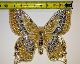 Embroidered and Beaded Butterfly Appliqués with Sequins.