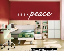 Seek Peace Religious Quote Vinyl Wall Decal Or Car Sticker - Mv014ET