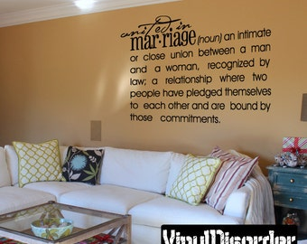Unified in marriage noun an intimate or close union between a man and a woman - Vinyl Wall Decal - Wall Quotes - Vinyl Sticker - Dfd010ET