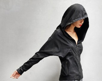 CONDOR HOODY - Women's Leather Jacket - Heathen Clothing - Brass and Quartz Crystal Zipper Pull - Black Leather Hoodie Jacket