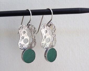 Aventurine earrings , Dangle earrings  , Green Aventurine ,  Antique jewelry style , Green earrings , Sterling silver ,  Handmade