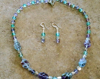 Fluorite Crystal Gemstone Necklace and Earring Set
