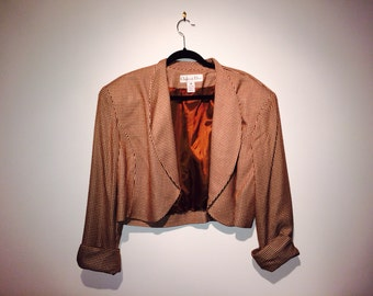 Jacket - Vintage CHRISTIAN DIOR Bolero Ladies Jacket Sz 14 1980s Woven Brown and Cream, Lined,Rolled Cuffs, Wool and Rayon WildRosesVintage