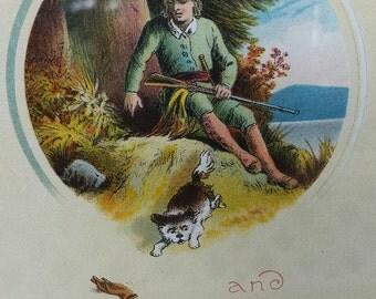 Dog & Master ANTIQUE PRINT Framed~Vintage Brass Frame~Dog Crusoe~English Hunting Scene~Printed by T Nelson Sons London~Dog Lover Gift.