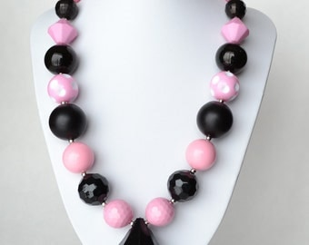 Pink & Black CHUNKY necklace with acrylic beads, tiger tail stringing, and metal toggle clasp