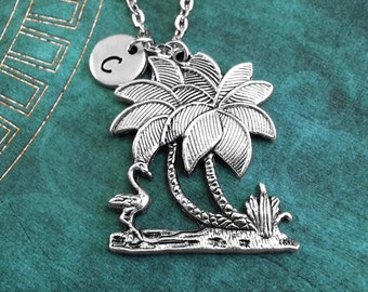 Palm Tree Necklace, Personalized Necklace, Palm Tree Pendant, Custom Necklace, Oasis Charm Necklace, Unicorn Jewelry, Flamingo Necklace