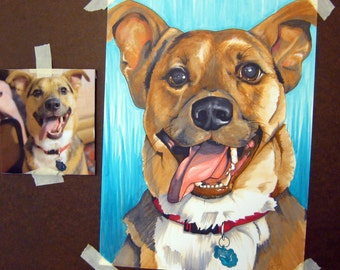 Custom Dog Portrait Drawing From Photo Made to Order 9x12