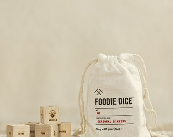 Foodie Dice® Seasonal Dinners Pouch // Laser engraved wood dice for cooking ideas // Foodie Gift, Chef Gift, Hostess Gift