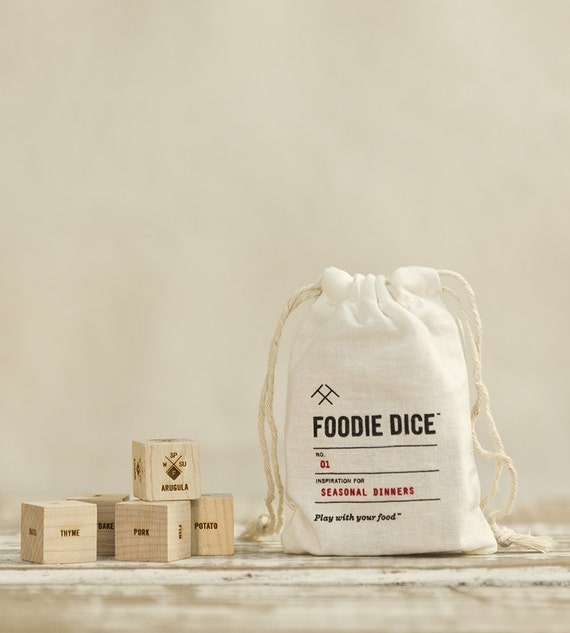 Foodie Dice® Seasonal Dinners Pouch // Laser engraved wood dice for cooking ideas // Foodie Gift, Chef Gift, Hostess Gift, Stocking Stuffer
