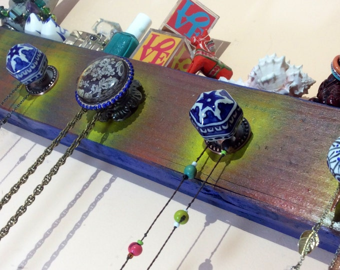 Wall coat rack entryway organizer recycled wooden hanging decor Necklace holder / jewelry display /reclaimed wood decor cobalt blue 5 knobs