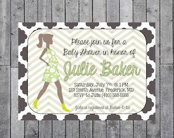 Quatrefoil Baby Shower Invitation // Pregnant Silhouette Print // Baby Bump
