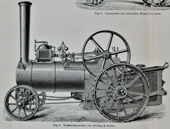 Locomotive. Old book plate, 1897. Antique illustration. 117 years lithograph. 11'9 x 9'2 inches.