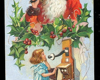 Santa Claus on Telephone with Girl 1912 Postcard