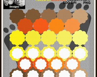 SCALLOPED Circles Transparent and Filled Frame Clipart Assorted Yellow, Orange, Brown, Tan