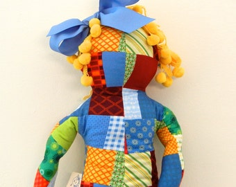 """21"""" Soft Huggable Large Doll Changeable Hair, Patchwork Pattern Cotton Fabric, Stafford Doll"""