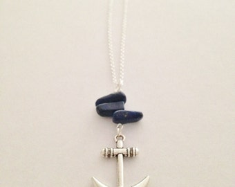 Silver Anchor Necklace with Lapis on Silver Chain, Navy Blue and Anchor Necklace