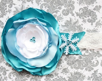 Made to Match Frozen Inspired Snowflake Winter ONEderland Ombre Headband for Baby Girl Ice Princess Elsa Tutu Dress 6-18 Mths First Birthday