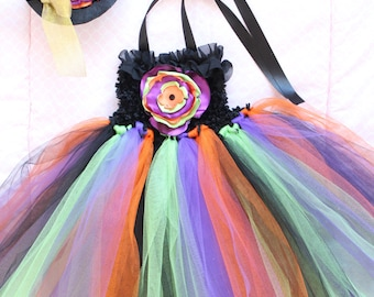 Beautiful Witch Tutu Dress Costume with Witch Hat for Baby Girl 12-24 Months First Halloween