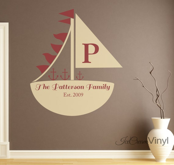 Nautical Family Name Wall Decal Sail Boat Ship for Living Room Entryway Vinyl Home Decor