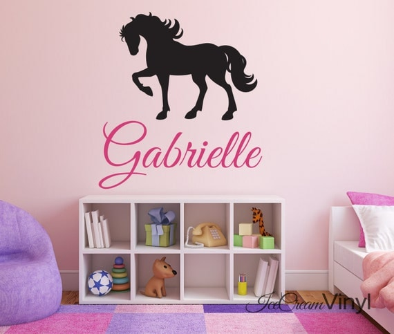 Name Wall Decal Horse Wall Decal for Girls Nursery Bedroom Play Room Name Monogram Vinyl Childrens Decor