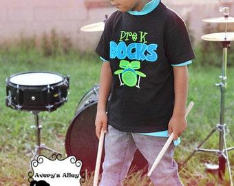 Pre K Rocks - Any Grade! - Boys Back to School Drums Applique Black Shirt