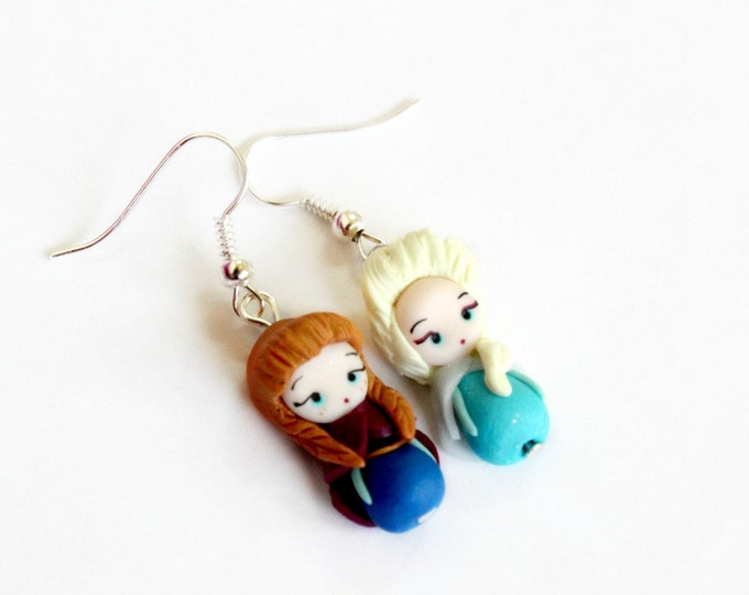 Anna and Elsa,Olaf from Frozen, earrings inspired by the Disney movie Frozen. Disney jewelry. Clay  charm.