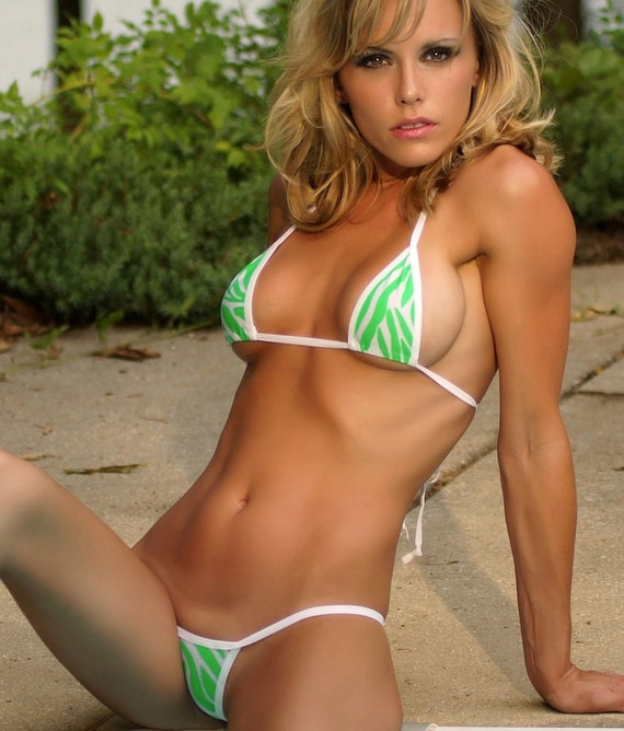 White W Neon Vert Animal Print Mini Micro G String Bikini