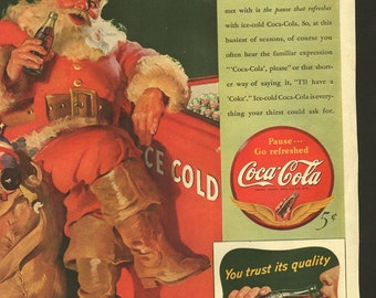 Original Saturday Evening Post Coke Santa Claus ad in VG condition, 1930s, Coca Cola - 466