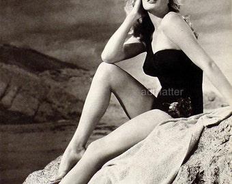 Vintage Anita Ekberg Pin-up Poster Sizzling Hot Photo Look at Those Incredible Legs! Mounted Print!