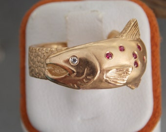14kt Trout Fish Ring Ruby & Diamond