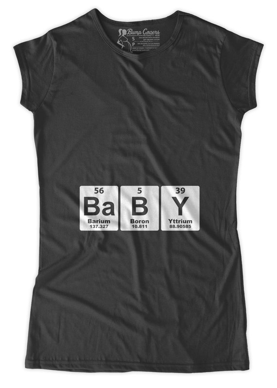 Periodic table Baby geek Maternity T-Shirt Clothes Top - nerd side print - Made From Bamboo - SUPER SOFT & Stretchy
