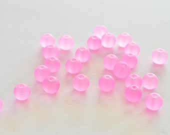 8mm, Pink Frosted Glass Beads, Glass Beads, 8mm, 28 Beads, Pink Frosted Glass, Beach Glass
