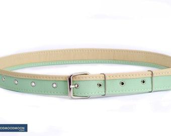 "Mint belt ""Lily Fly"", vegan leather"