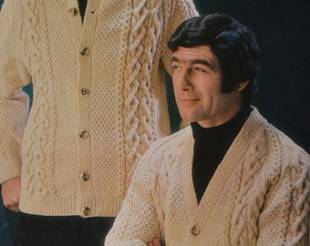 Men's aran cable cardigan two styles  sizes 30 to 44 inch vintage knitting pattern pdf INSTANT download jumper pattern only pdf 1960s