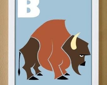 alphabet letter B, bison, custom colors, alphabet art, nursery decor, kids art, 4X6, 5X7, 8X10