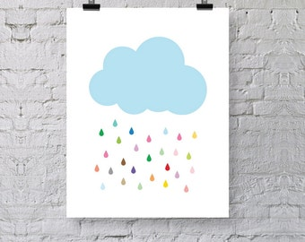 "Rain and Cloud Poster Print, Abstract Art Print, Illustration, Premium Wall Art Decor, City Poster 13"" x 19"""