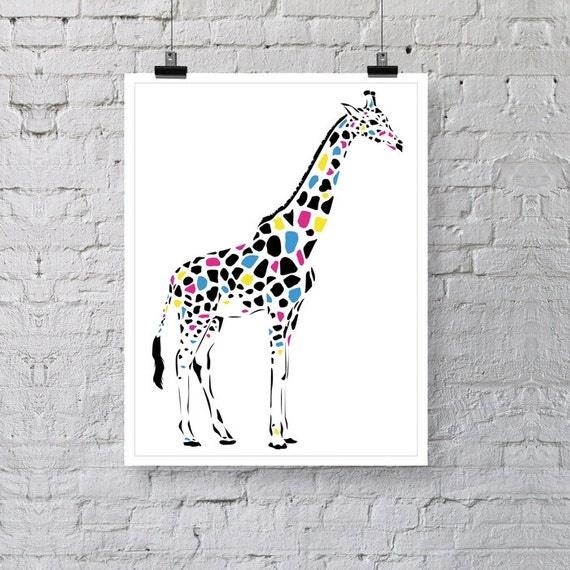 girafe animaux poster print illustration print premium wall. Black Bedroom Furniture Sets. Home Design Ideas