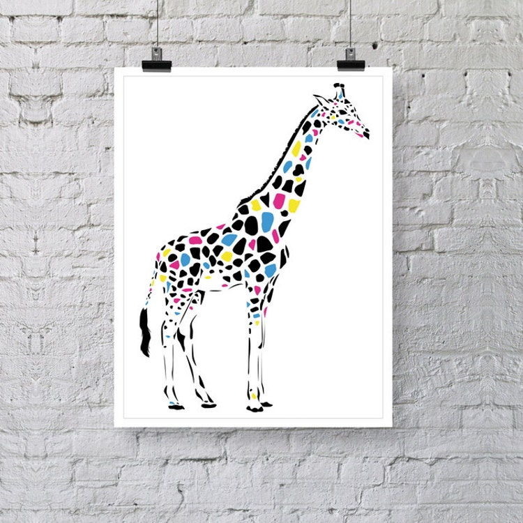 girafe animaux poster print illustration par minimalistprintshop. Black Bedroom Furniture Sets. Home Design Ideas