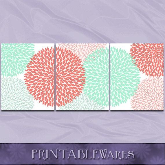 Coral and mint nursery flower printable wall art chrysanthemum floral