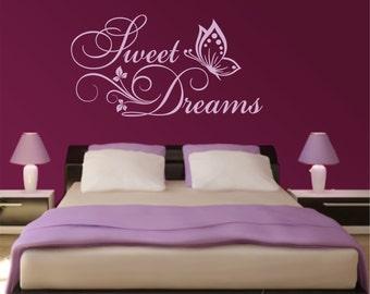 Sweet Dreams Butterflies Flowers Vinyl Art Home Wall Quote Decal Sticker Decor