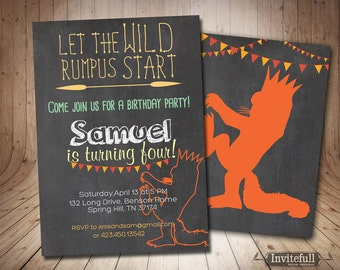 Where the wild things are invitation,Boy or Girl Birthday Invitation - wild rumpus kids birthday invite - Birthday Party Invites