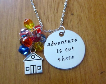 UP Inspired Necklace. Adventure is out there! House w/ balloons UP necklace.  crystals. Hand Stamped UP necklace. Ellie & Carl