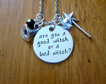 Good Witch/Bad Witch Halloween Necklace. Are you a good witch or a bad witch? Witch Hat, Magic Wand. Silver colored. Halloween. *