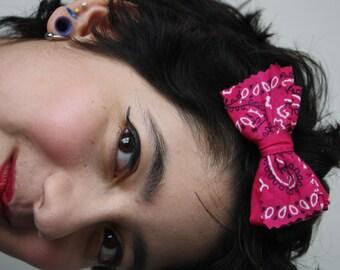 Colorful Pink Bandana Bow Hair Clip