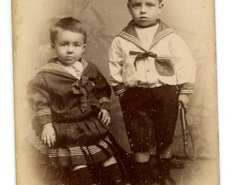 Little Sailor Boys Victorian Cabinet Card Photo 1890s Children