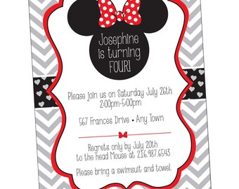 Minnie Mouse Birthday Invitation  Disney Birthday Invitation {Digital File} Printable