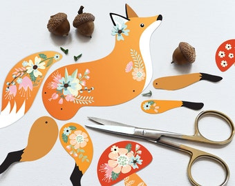 Articulated Paper Fox, Instant Digital Download - DIY Paper Fox Doll