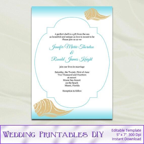 Etsy Beach Wedding Invitations: Items Similar To Diy Destination Beach Wedding Invitations